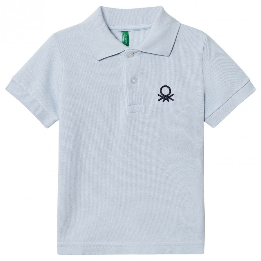United Colors Of Benetton Logo Polo Tee Light Blue Pikeepaita