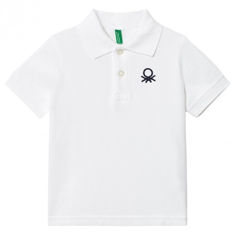 United Colors Of Benetton Logo Polo Tee White Pikeepaita