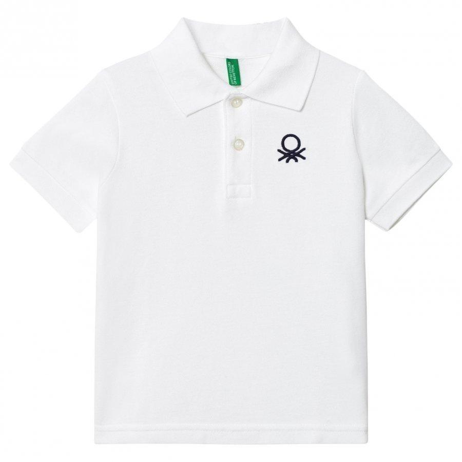 United Colors Of Benetton Logo Polo Tee White Pikeepaita