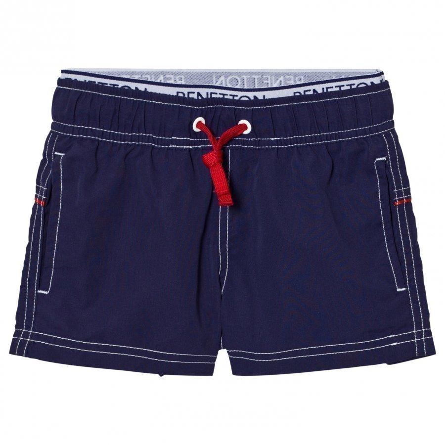 United Colors Of Benetton Navy Swim Shorts With Logo Waist Band Uimashortsit