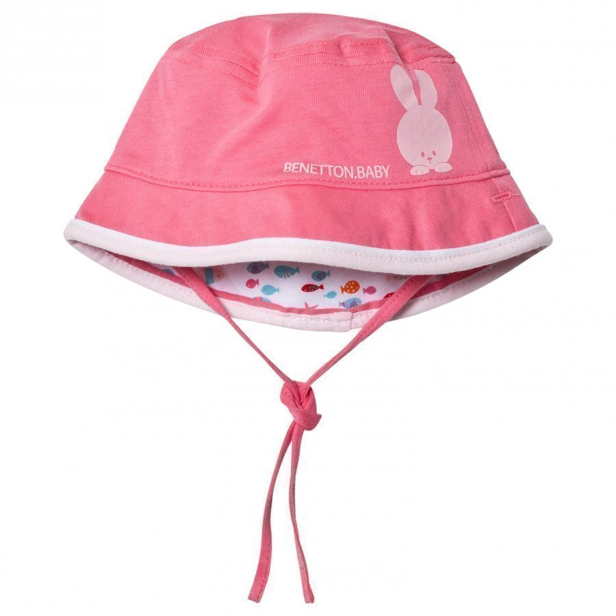 United Colors Of Benetton Reversible Pink Cotton Sun Hat With Tie Neck Aurinkohattu