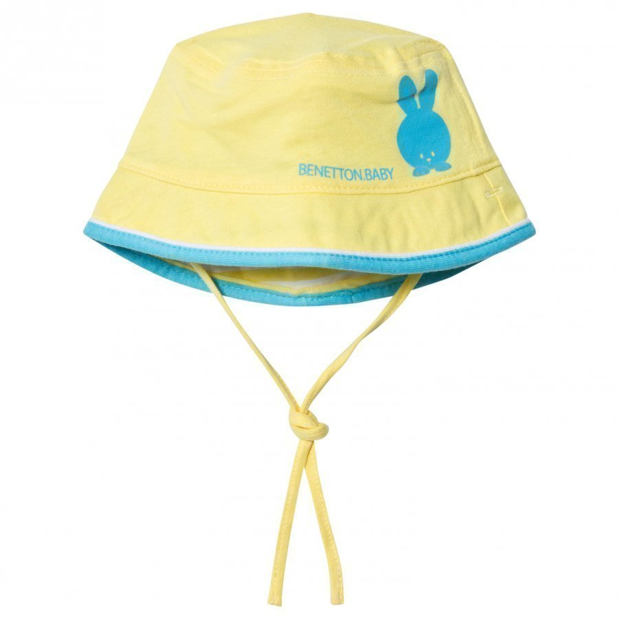 United Colors Of Benetton Reversible Yellow Cotton Sun Hat With Tie Neck Aurinkohattu