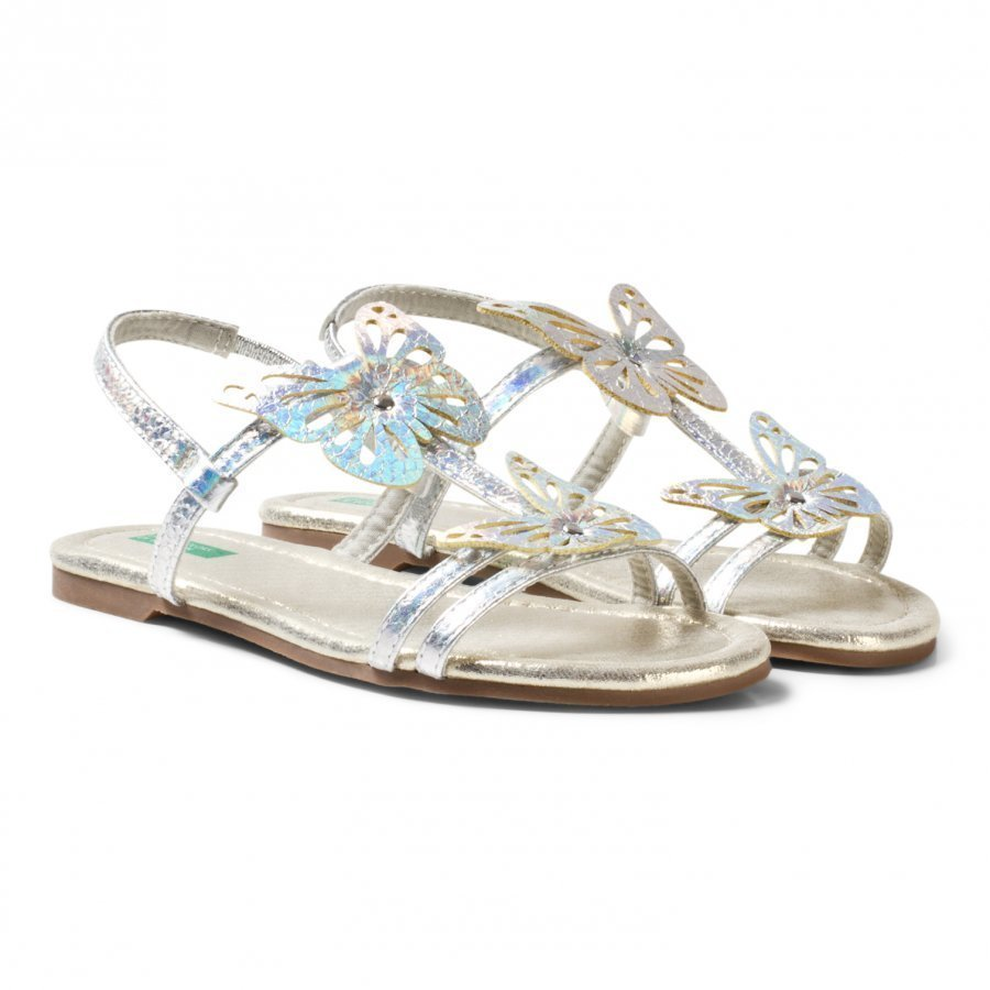 United Colors Of Benetton Silver Butterfly Sandals With Ankle Straps Remmisandaalit