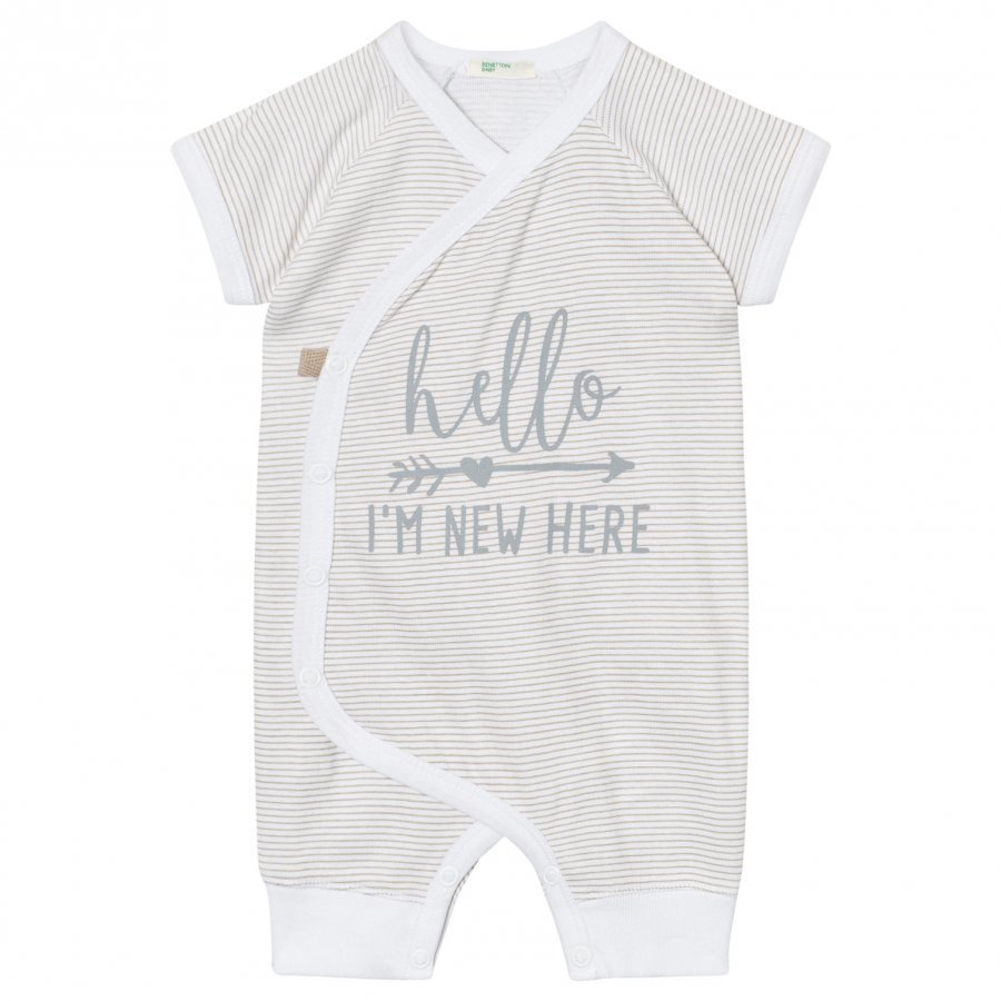 United Colors Of Benetton Stripe Jersey Baby One-Piece Beige Yöpuku