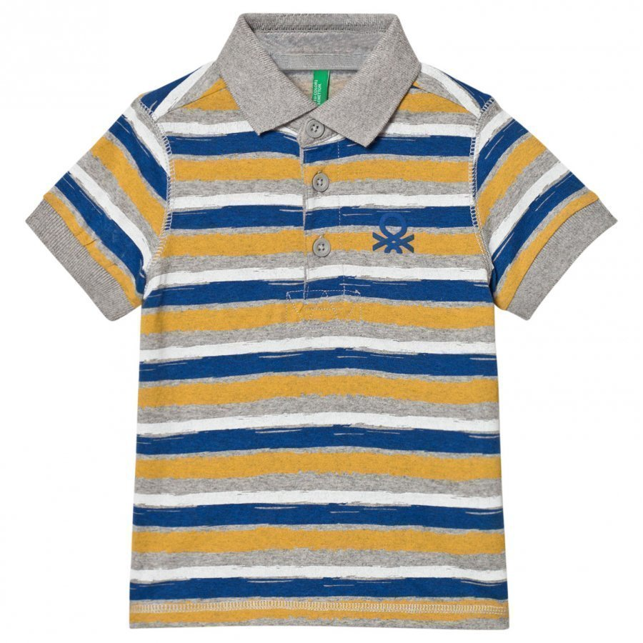 United Colors Of Benetton Stripe Logo Polo Tee Multi Pikeepaita
