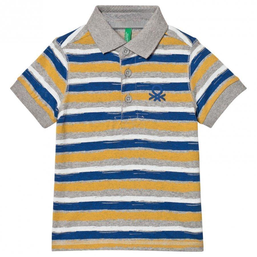 United Colors Of Benetton Stripe Logo Polo Tee Multi Pikeepaita