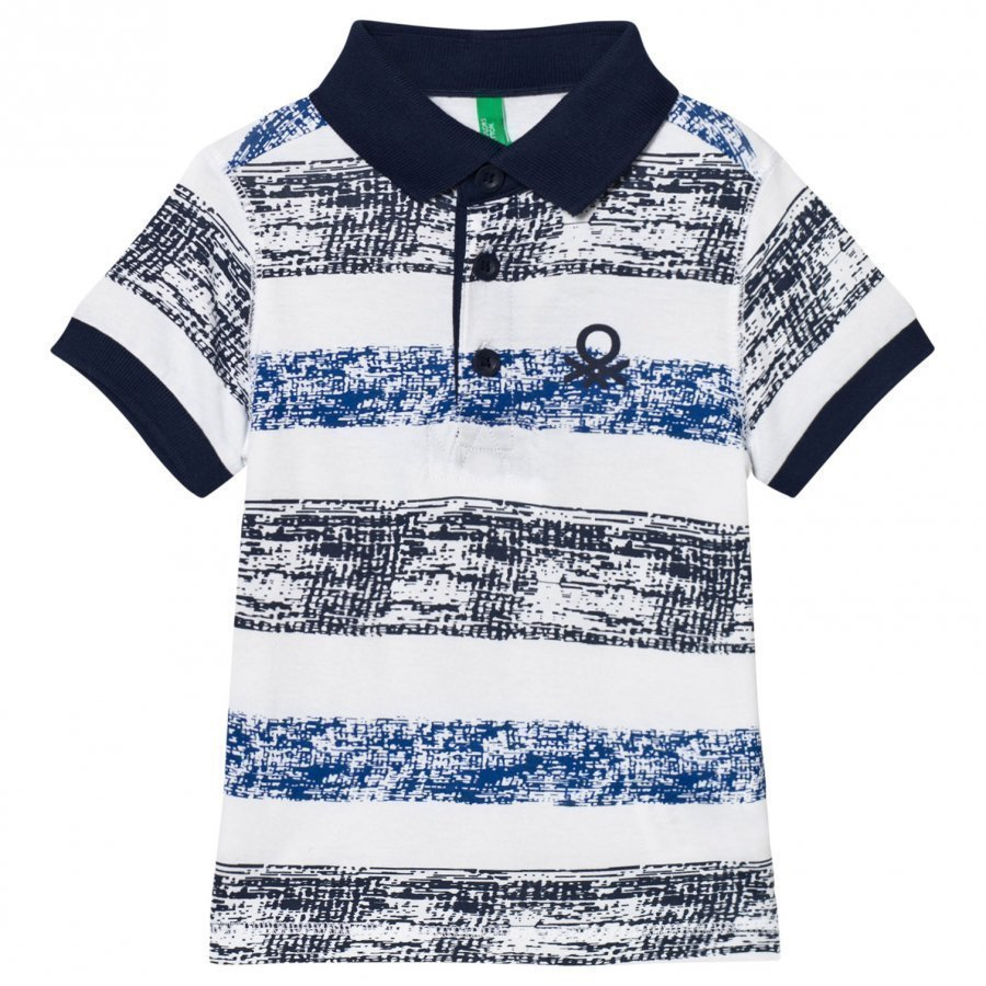 United Colors Of Benetton Stripe Logo Polo Tee White Pikeepaita