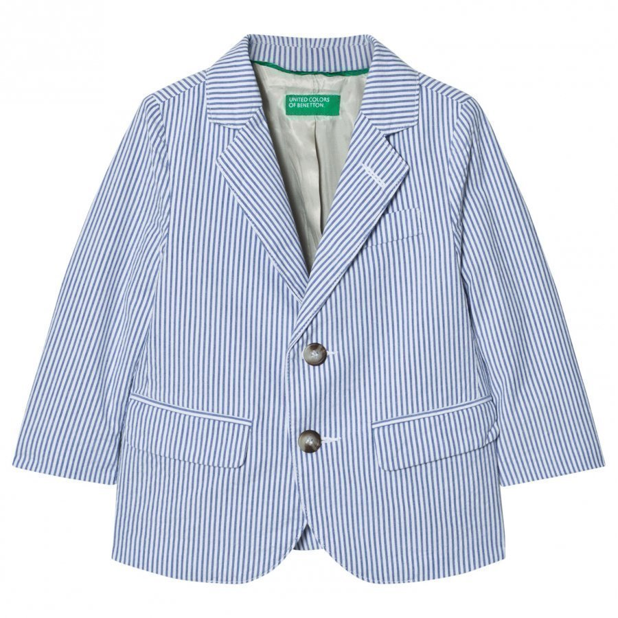United Colors Of Benetton Stripe Suit Jacket Blue/White Bleiseri