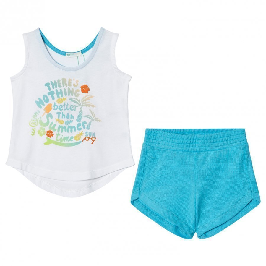 United Colors Of Benetton Summer Time Tank Top And Shorts Set White/Blue Liivi
