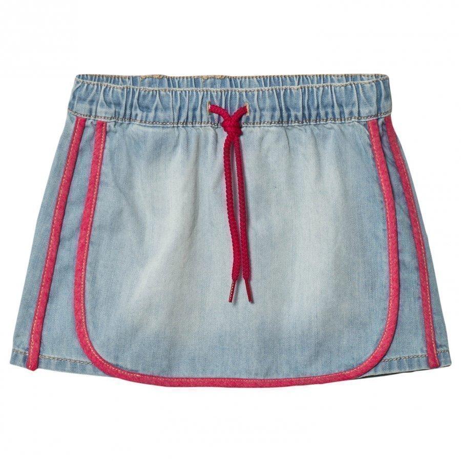 United Colors Of Benetton Washed Denim Skirt Light Blue Farkkuhame