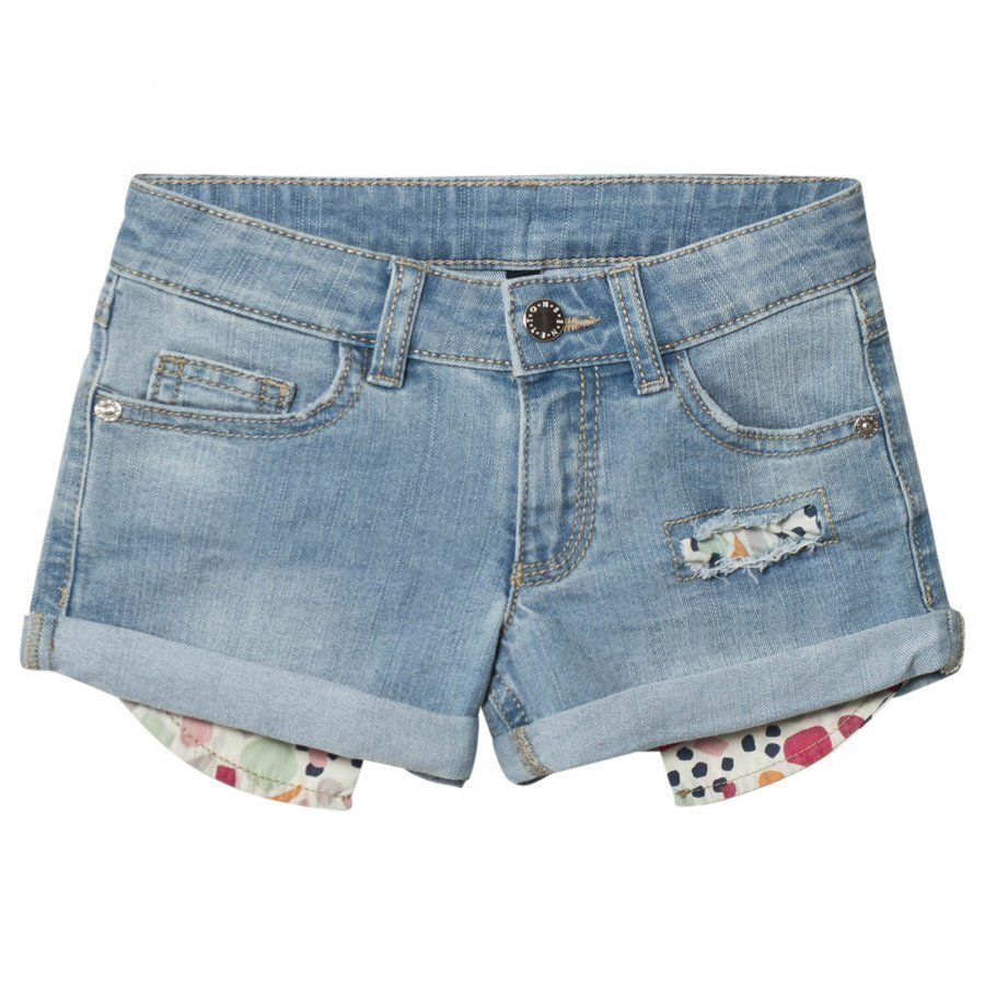 United Colors Of Benetton Washed Turn Up Denim Shorts Light Blue Farkkushortsit