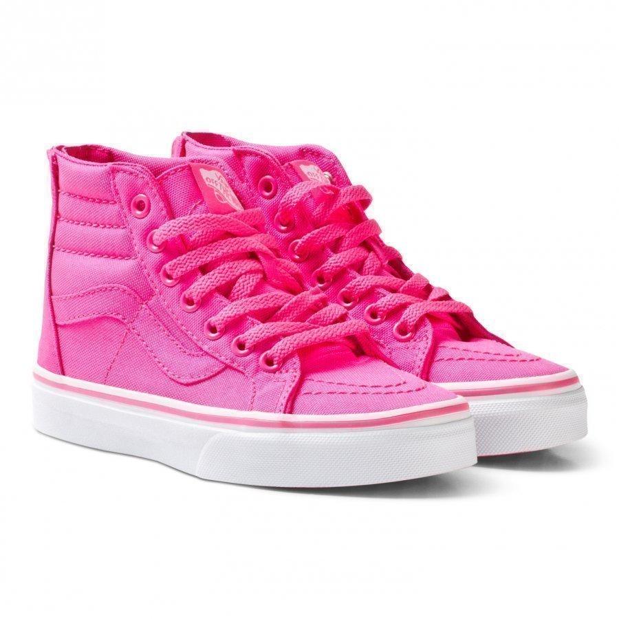 Vans Pink Neon Canvas Sk8-Hi Zip Trainers Korkeavartiset Kengät