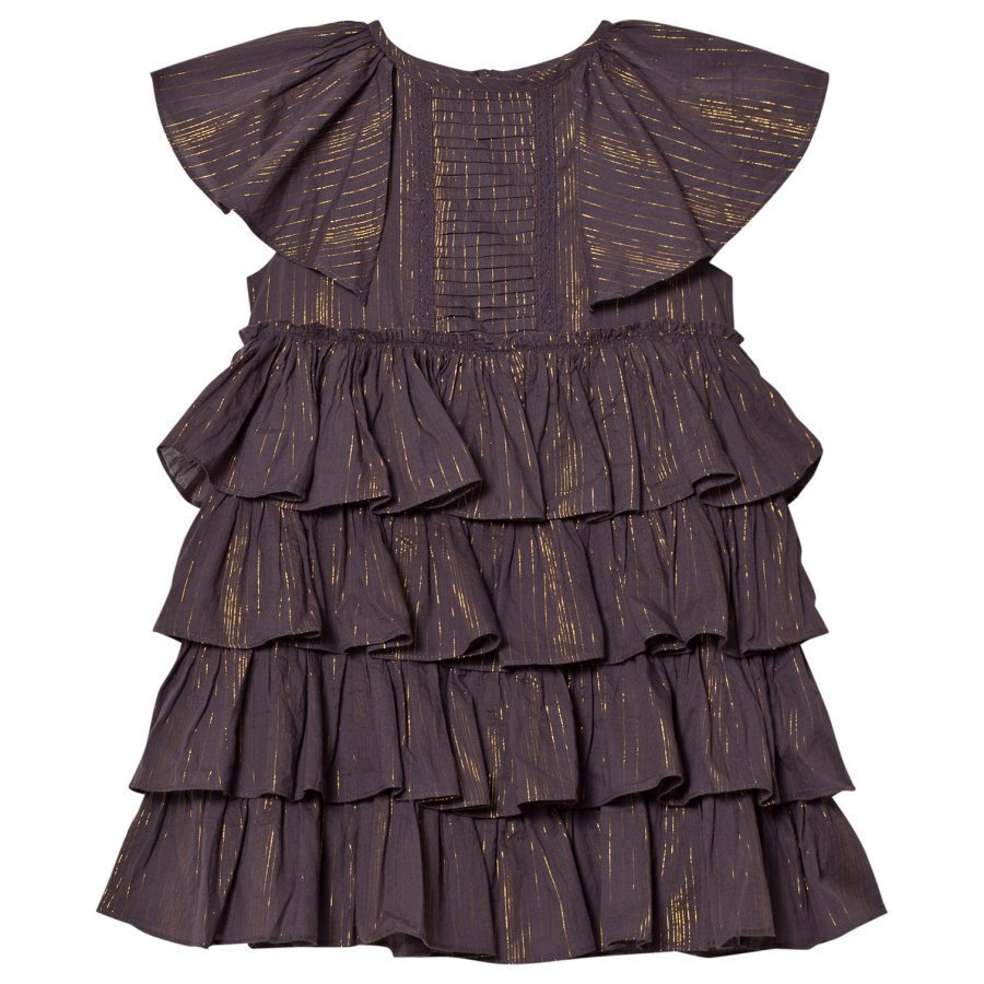 Velveteen Purple Josephine Tiered Dress Juhlamekko