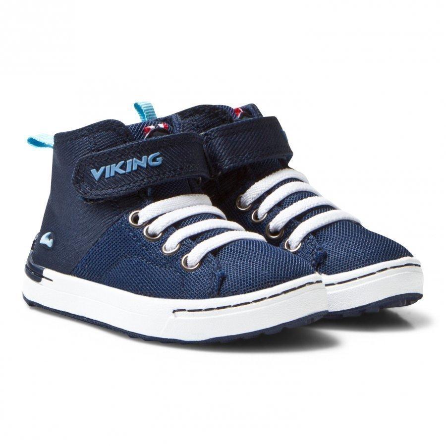 Viking Frogner Kids Mid Navy/White Korkeavartiset Kengät