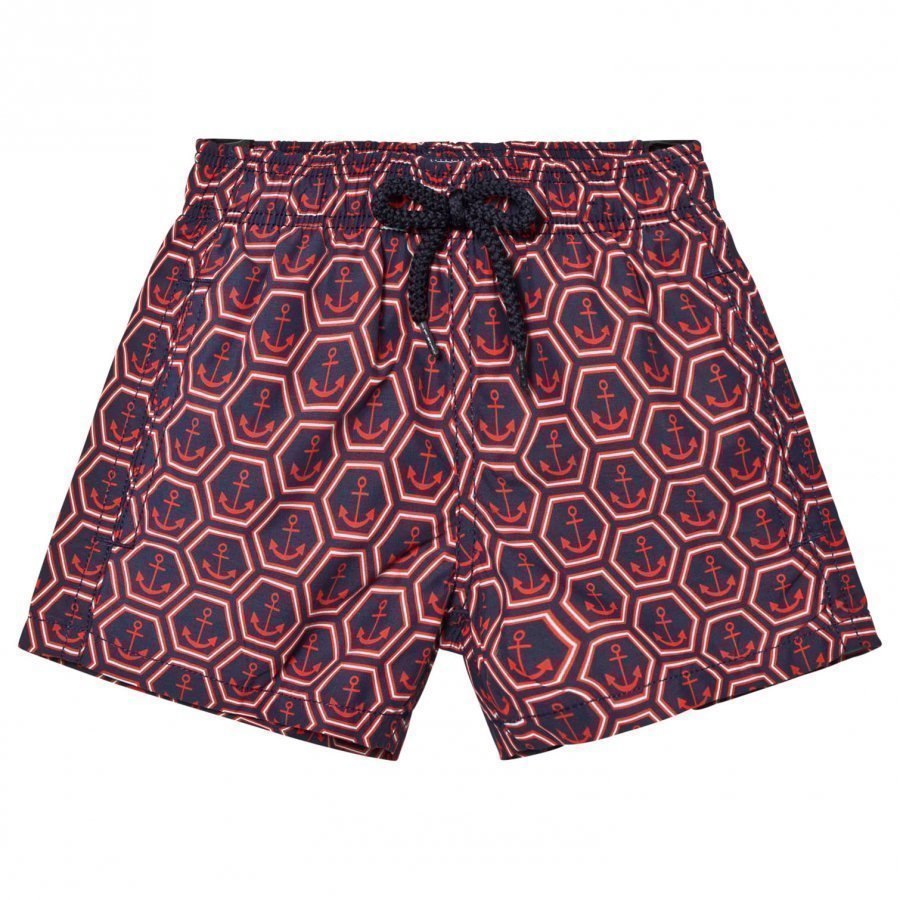 Vilebrequin Navy And Red Anchor Print Swimming Trunks Uimahousut