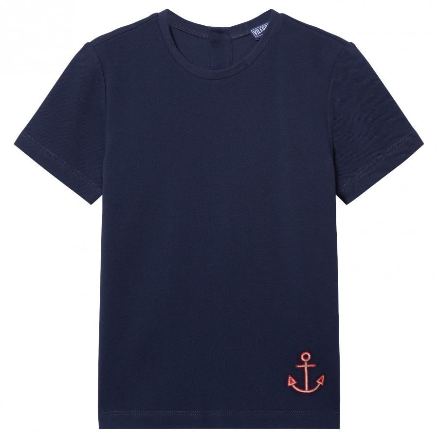 Vilebrequin Navy Tee With Red Anchor T-Paita