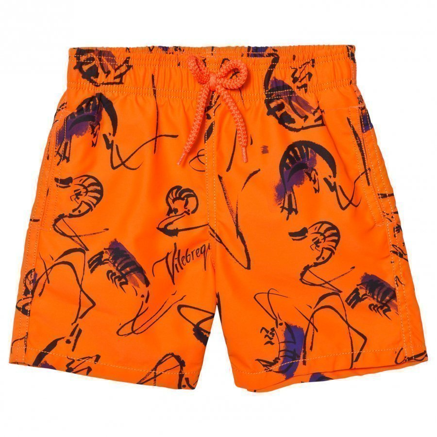 Vilebrequin Orange Print Swimming Trunks Uimahousut