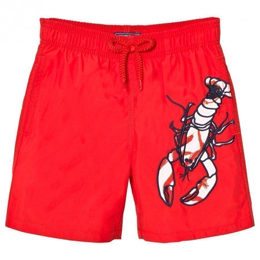 Vilebrequin Red Lobster Embroidered Swimming Trunks Uimahousut