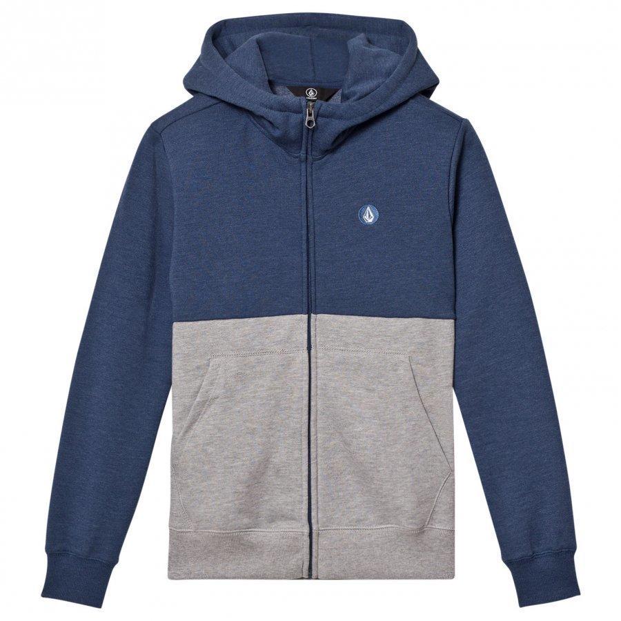 Volcom Blue And Grey Small Logo Hoodie Huppari