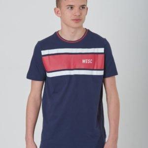Wesc Max Chest Stripes Jr T-Paita Sininen