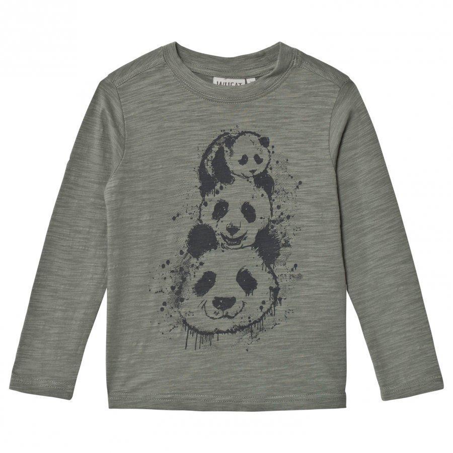 Wheat Panda Tree Long Sleeve Tee Agave T-Paita