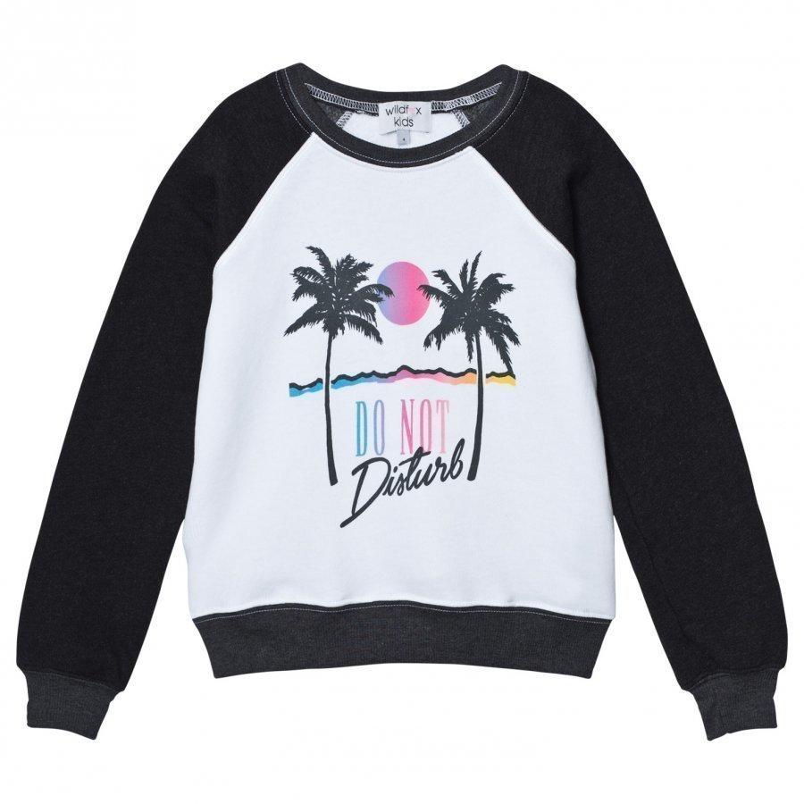 Wildfox Black And White Raglan Do No Disturb Print Sweater Oloasun Paita