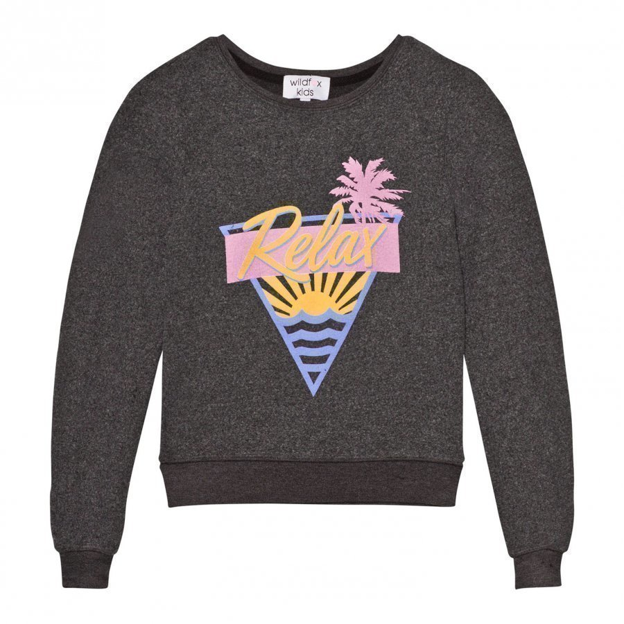 Wildfox Black Relax Print Baggy Beach Jumper Paita