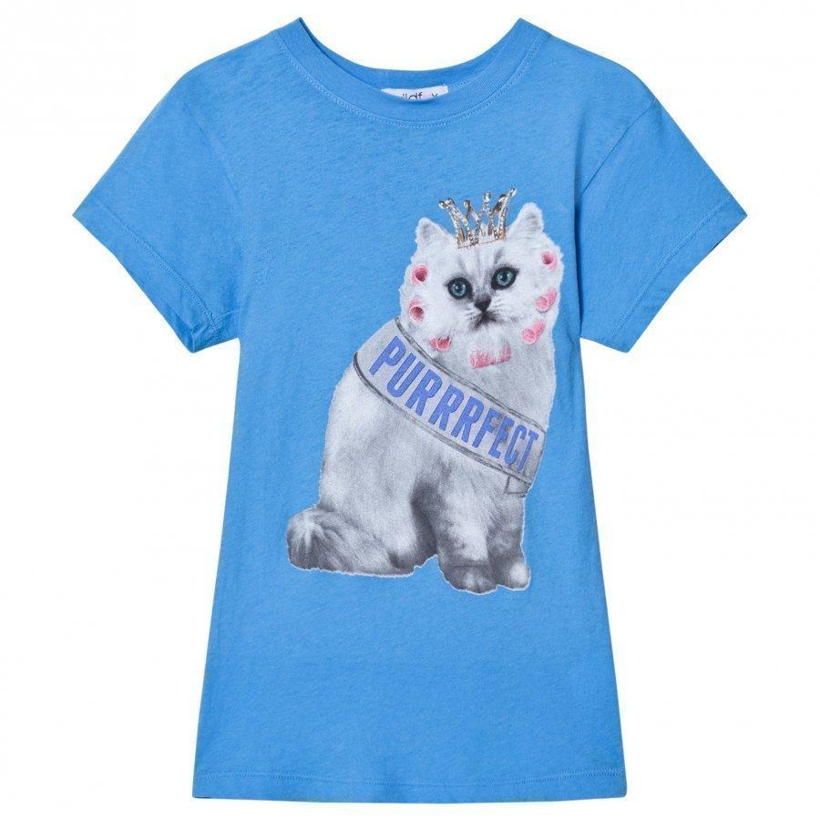 Wildfox Blue Purrfect Cat Print Tee T-Paita