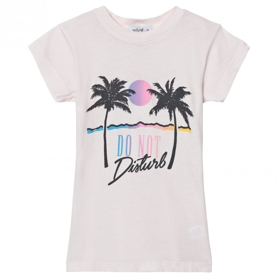 Wildfox Pink Do No Disturb Print Tee T-Paita