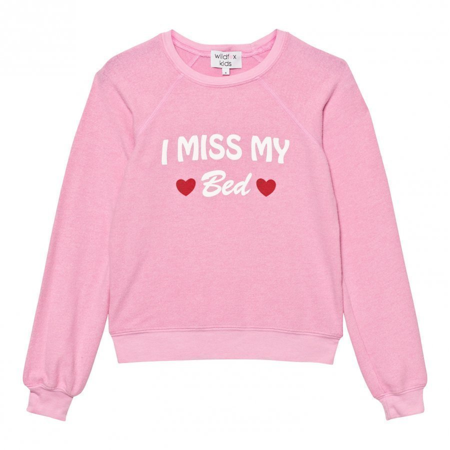 Wildfox Pink I Miss My Bed Print Sweater Oloasun Paita