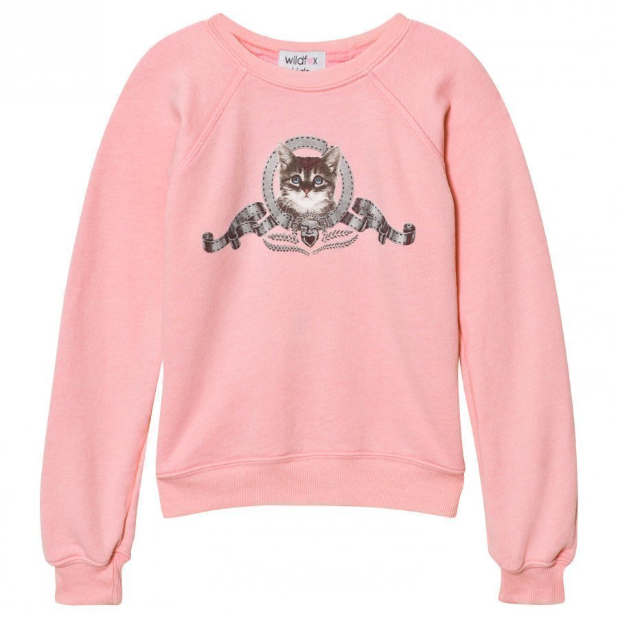 Wildfox Pink Silver Screen Kitten Sweater Oloasun Paita