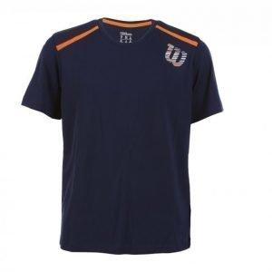 Wilson Kaos Print Crew Tekninen T-paita Sininen / Oranssi