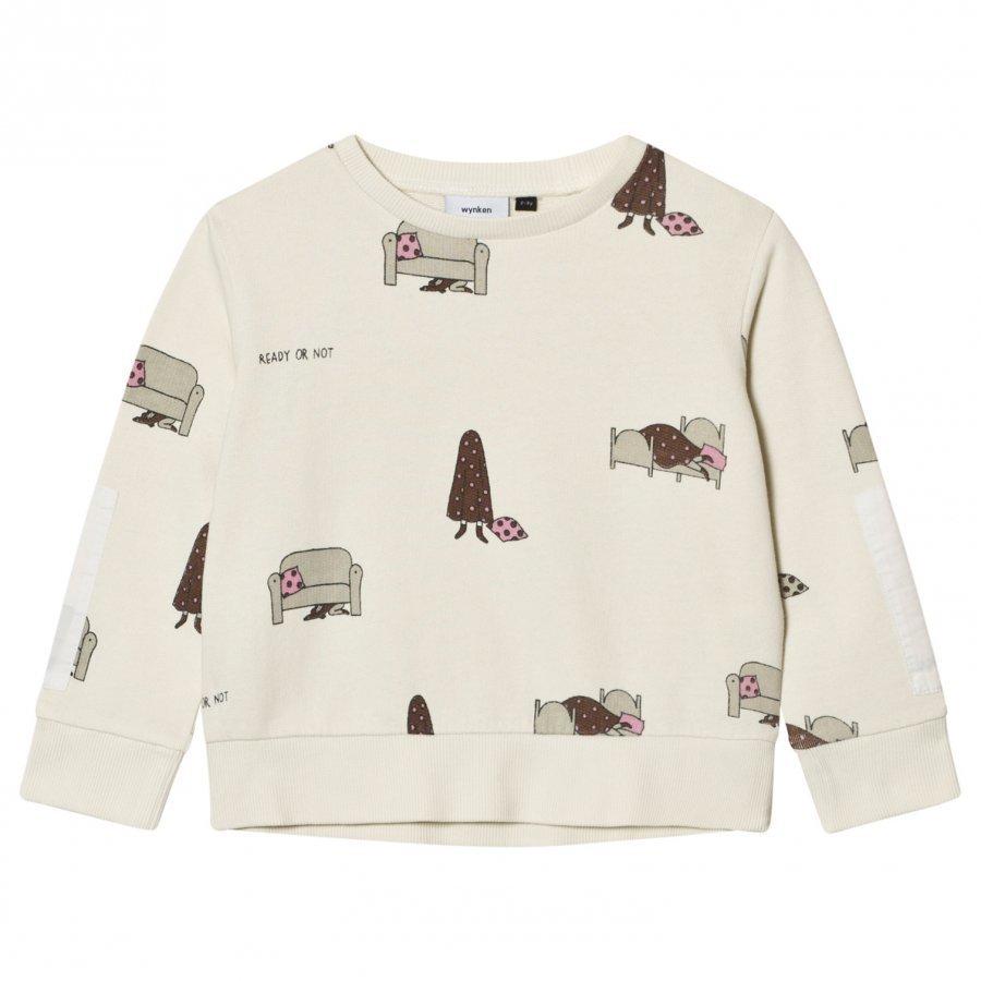 Wynken Cream Hide And Seek Print Sweatshirt Oloasun Paita
