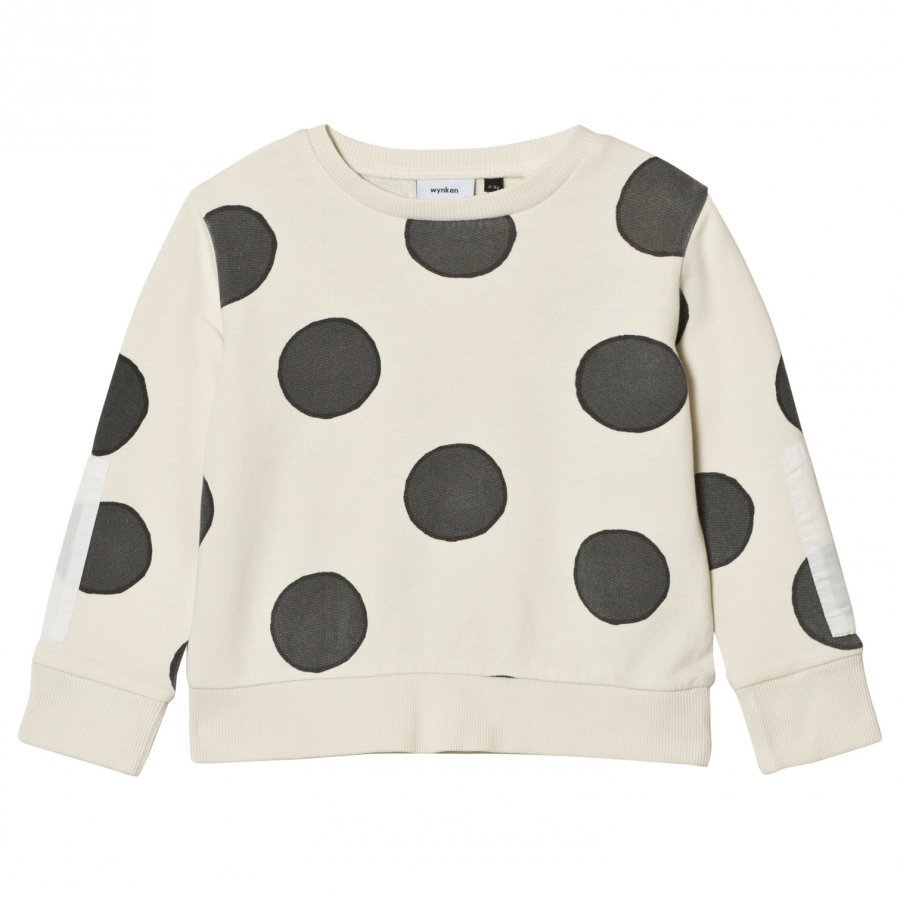 Wynken Cream Spot Print Sweatshirt Charcoal Oloasun Paita