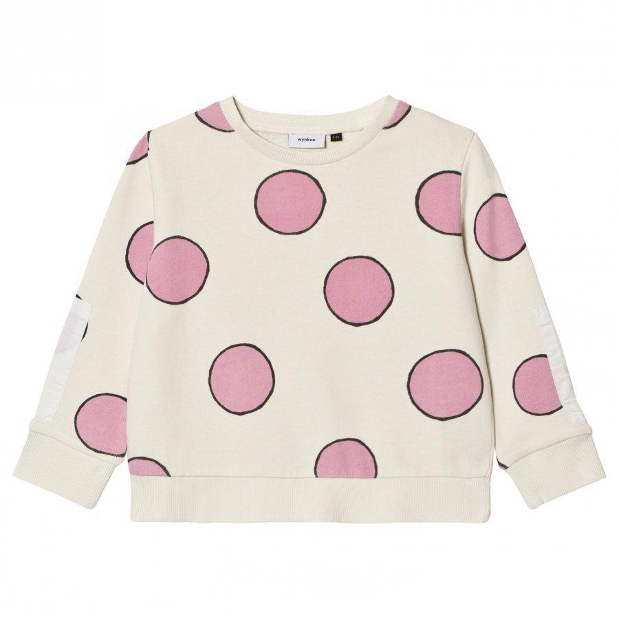 Wynken Cream Spot Print Sweatshirt Pink Oloasun Paita