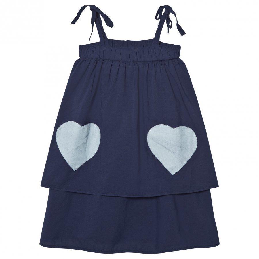 Wynken Navy And Cream Heart Pocket Stappy Sun Dress Mekko