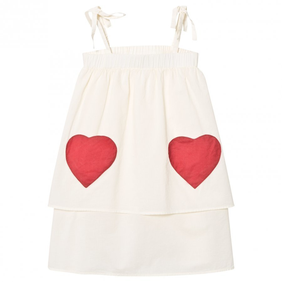 Wynken White With Red Heart Pocket Stappy Sun Dress Mekko