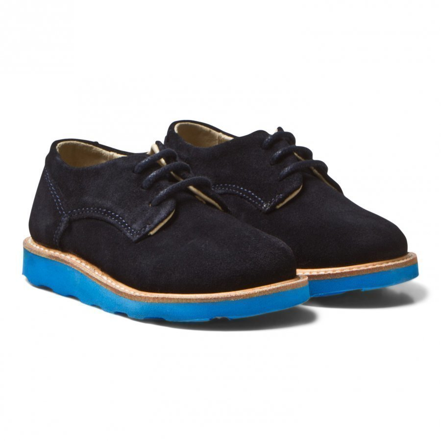 Young Soles Alfie Derby Shoes Navy Suede Klassiset Kengät