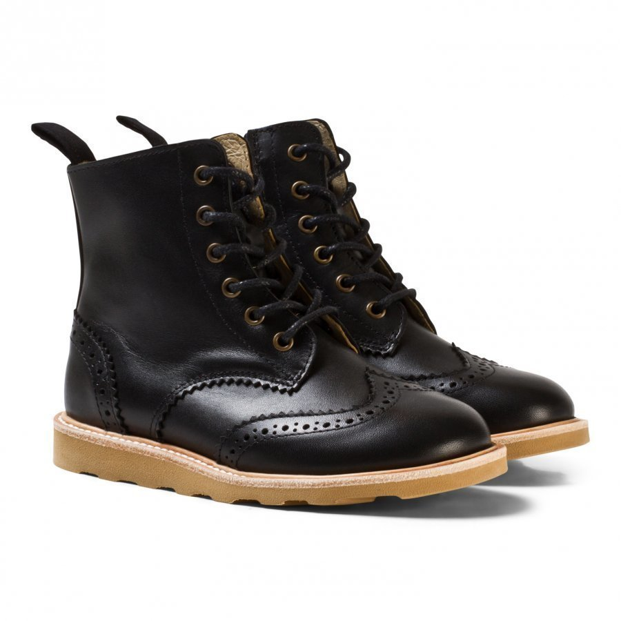 Young Soles Black Leather Sidney Zip And Lace Leather Boots Nilkkurit