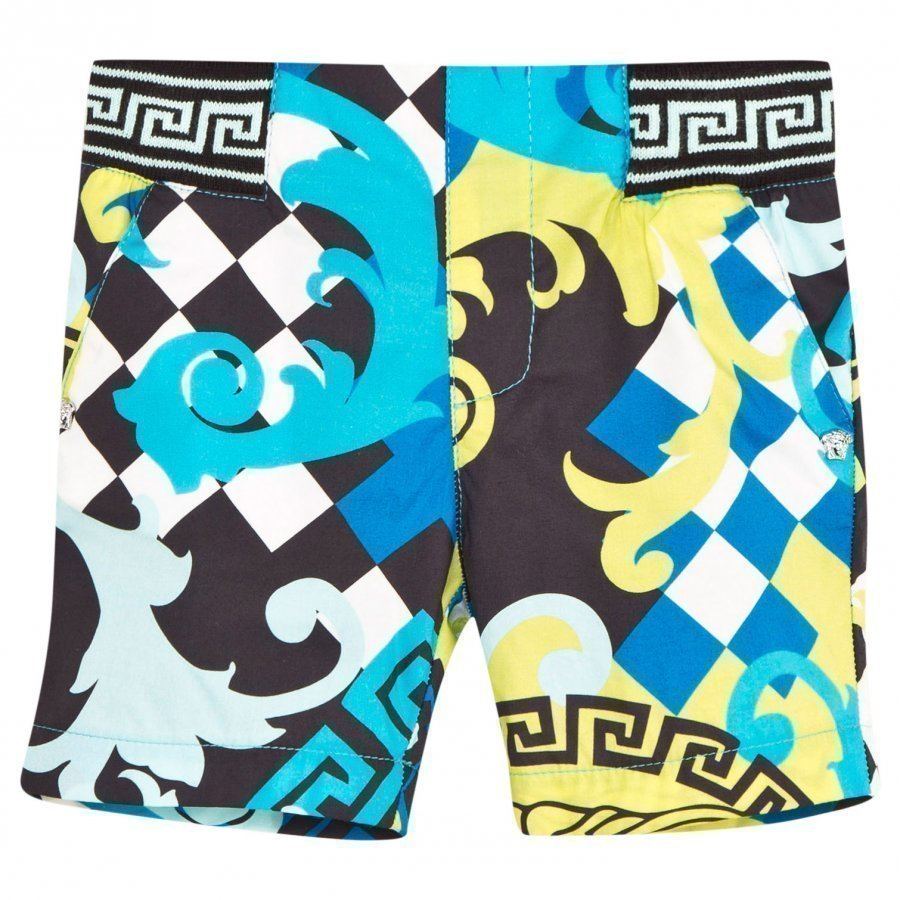 Young Versace Bermuda Shortsit Mustat/Aqua/Keltaiset Uimashortsit