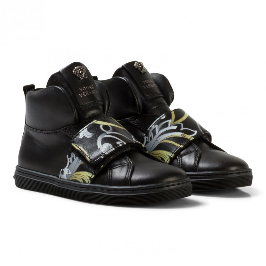 Young Versace Black And Gold Baroque Print Medusa High Top Trainers Korkeavartiset Kengät