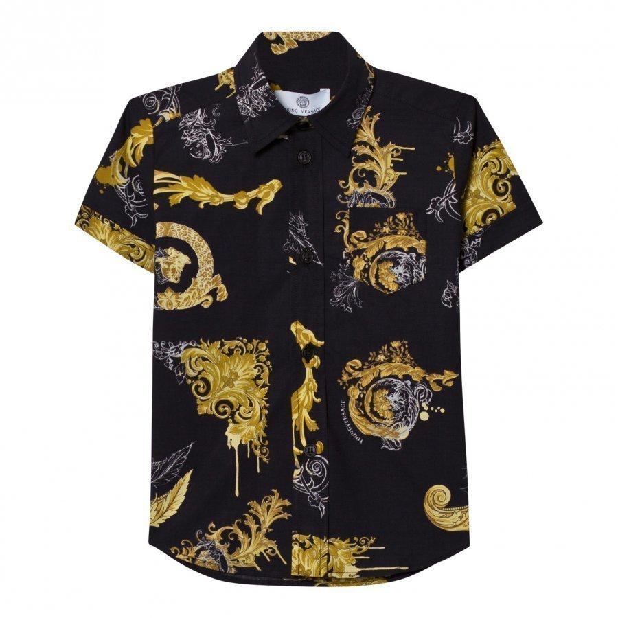 Young Versace Black And Gold Baroque Print Shirt Kauluspaita
