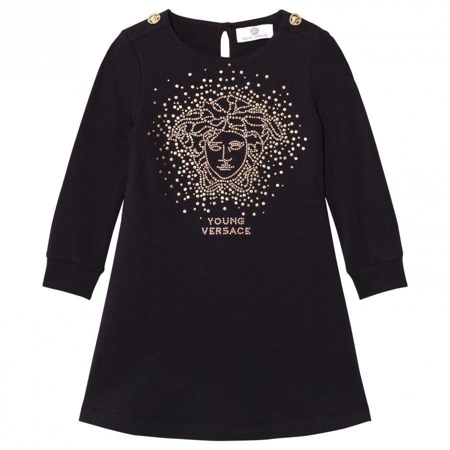 Young Versace Black And Gold Stud Medusa Jersey Dress Mekko