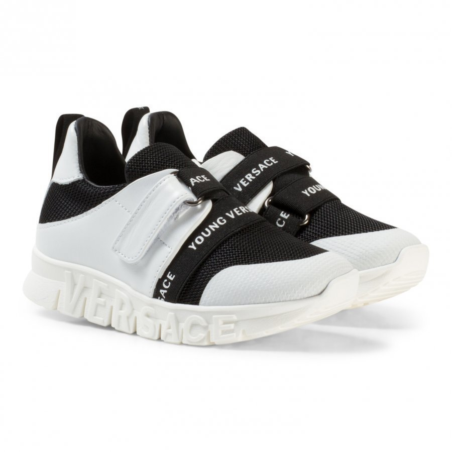 Young Versace Black And White Branded Trainers With Logo Sole Lenkkarit