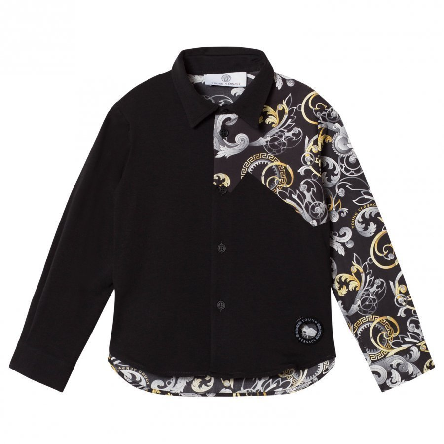 Young Versace Black Baroque Print Shirt Kauluspaita