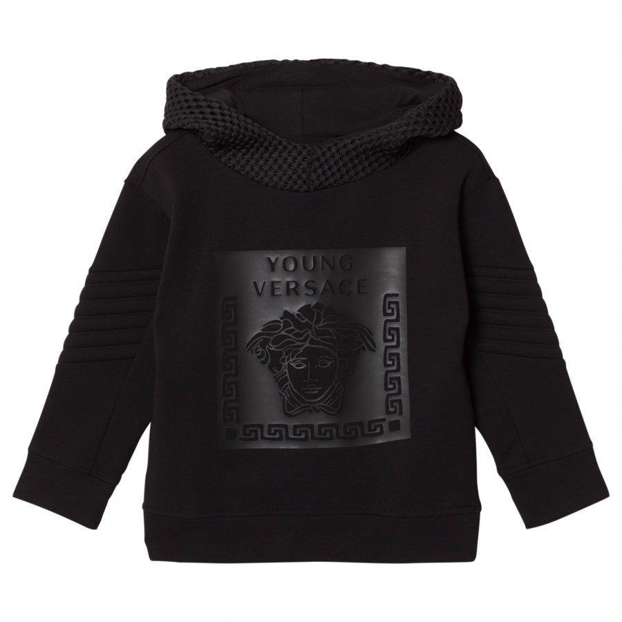Young Versace Black Rubberised Medusa Print Hoody With Mesh Detail Huppari
