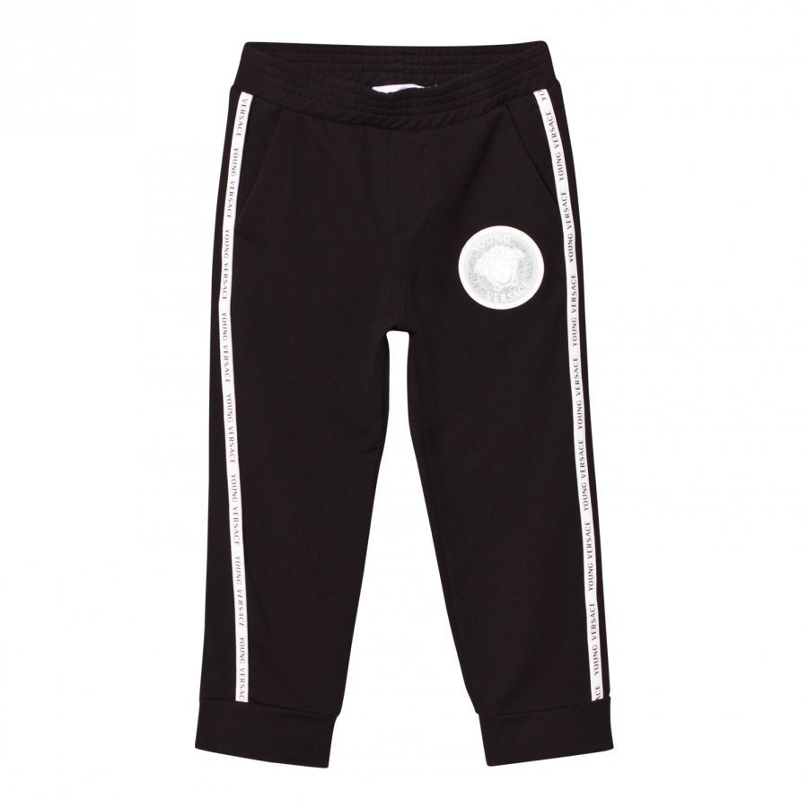 Young Versace Black Sweat Pants With Branded Trim Verryttelyhousut