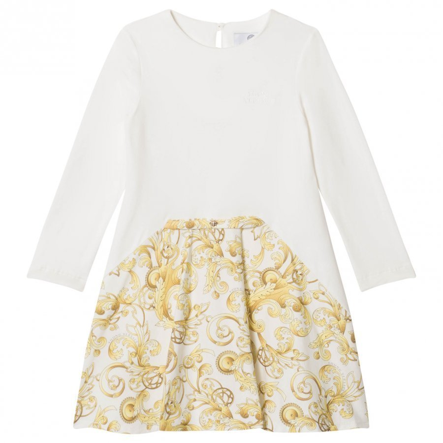 Young Versace Ivory And Gold Baroque Icon Print Jersey Dress Mekko