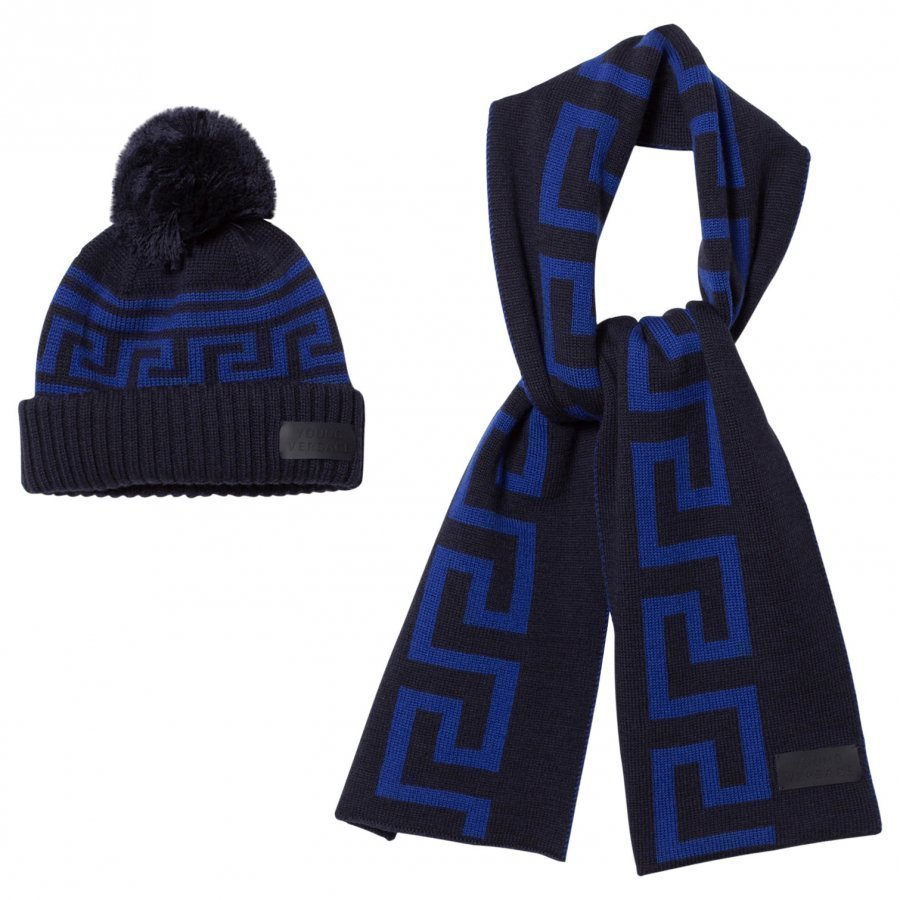 Young Versace Navy And Blue Branded Knit Hat And Scarf Set Lahjasetti