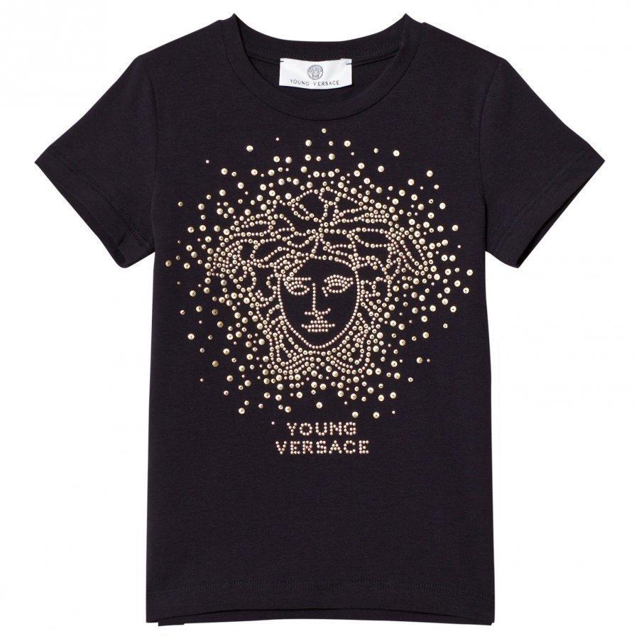 Young Versace Navy And Gold Stud Medusa Tee T-Paita